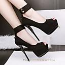 ieftine Tocuri de Damă-Pentru femei Pantofi Piele nubuc Primăvară / Toamnă Confortabili / Balerini Basic Tocuri Toc Stilat Pantofi vârf deschis Negru / Gri / Roz