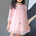 preiswerte Backformen-Mädchen Kleid Alltag Ausgehen Solide Blumen Baumwolle Polyester Frühling Sommer 3/4 Ärmel Niedlich Aktiv Prinzessin Rosa