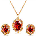 cheap Earrings-Women's Crystal / Cubic Zirconia Geometric Jewelry Set - Crystal, Zircon, Gold Plated Classic, Fashion Include Stud Earrings / Pendant Necklace Gold For Wedding / Party