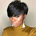 preiswerte Kappenlos-Menschliches Haar Capless Perücken Echthaar Wellen Pixie-Schnitt Natürlicher Haaransatz Natur Schwarz Maschinell gefertigt Perücke Damen