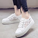 cheap Women's Sneakers-Women's Shoes Lace Spring / Fall Comfort Sneakers Flat Heel White / Black