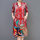 cheap Chandeliers-Women's Plus Size Holiday Boho / Sophisticated Loose A Line Dress - Animal Print V Neck / Spring / Summer