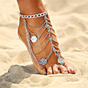 cheap Anklet-Layered Tassel Anklet - Flower Vintage, Bohemian, Boho Gold / Silver For Holiday Bikini Women's