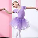 preiswerte Kindertanzkleidung-Ballett Austattungen Mädchen Training / Leistung Baumwolle Spitze Kurzarm Normal Röcke / Gymnastikanzug / Einteiler