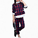 cheap Girls' Jackets & Coats-Kids Girls' Check Plaid Long Sleeve Short Short Cotton Clothing Set