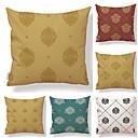 ieftine Fețe de Pernă-6 buc Textil Bumbac / In Față de Pernă, Floral Geometric Imprimare Formă pătrată Vintage