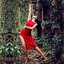 baratos Roupas de Dança Latina-Dança Latina Vestidos Mulheres Espetáculo Seda Sintética Com Fenda Sem Manga Vestido
