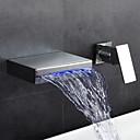 hesapli Duş Muslukları-Banyo Lavabo Bataryası - Şelale Yaygın Krom Duvara Monte Edilmiş Tek Kolu İki Delik