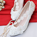 cheap Wedding Shoes-Women's Shoes Lace / Leatherette Spring / Fall Comfort Wedding Shoes Cone Heel Pointed Toe / Round Toe Imitation Pearl White