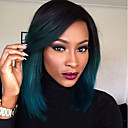 cheap One Pack Hair-Remy Human Hair Full Lace Wig Brazilian Hair Straight Wig Bob Haircut / Layered Haircut / Short Bob 130% With Baby Hair / Ombre Hair / Dark Roots Blue Women's 8-14 Human Hair Lace Wig