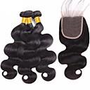 preiswerte Modische Armbänder-3 Bundles mit Verschluss Brasilianisches Haar Große Wellen 8A Echthaar Unbearbeitet Echthaar Haar-Einschlagfaden mit Verschluss Schwarz Naturfarbe Menschliches Haar Webarten mit Babyhaar Sexy Lady