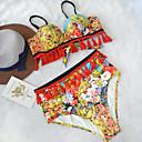 abordables Gargantillas-Mujer Boho Sin Tirantes Amarillo Alta cintura Bikini Bañadores - Floral Espalda al Aire M L XL / Sexy
