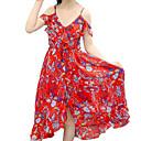 זול סטים של ביגוד לבנות-שמלה כותנה פוליאסטר קיץ ללא שרוולים יומי חוף פרחוני הילדה של פעיל בוהו אודם