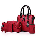 cheap Bag Sets-Women's Bags PU Leather Bag Set 4 Pieces Purse Set Zipper / Tassel Floral Print Red / Gray / Brown