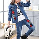 זול סטים של ביגוד לבנות-סט של בגדים כותנה קצר שרוול ארוך פרחוני / רקמה בנות ילדים
