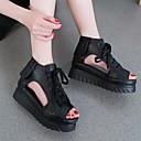 ieftine Tocuri de Damă-Pentru femei Pantofi Piele Primăvară / Vară Gladiator Sandale Toc Platformă Pantofi vârf deschis Alb / Negru