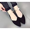 baratos Sapatilhas Femininas-Mulheres Sapatos Pele Nobuck Outono Conforto Rasos Sem Salto Preto / Verde Tropa / Rosa claro