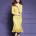 זול סנדלי נשים-קפלים, אחיד - שמלה תחרה בתולת ים \חצוצרה מידות גדולות בגדי ריקוד נשים