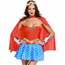 cheap PU & SM-Super Heroes Warrior Cosplay Costume Party Costume Women's Christmas Halloween Carnival Festival / Holiday Lycra Outfits Blue+Red Patchwork