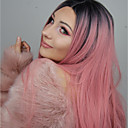 cheap Synthetic Lace Wigs-Synthetic Lace Front Wig Straight Pink Middle Part 150% Density Synthetic Hair Heat Resistant / Party / Women Pink Wig Women's Long Lace Front / Yes