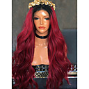 cheap Synthetic Lace Wigs-Synthetic Wig Wavy Minaj Style Side Part Lace Front Wig Burgundy Black / Burgundy Synthetic Hair Women's with Baby Hair / Heat Resistant / Ombre Hair Burgundy Wig Long Modernfairy Hair 150% Density