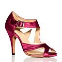 preiswerte Latein Schuhe-Damen Schuhe für den lateinamerikanischen Tanz Satin Sneaker Satin Blume Kubanischer Absatz Tanzschuhe Schwarz / Purpur / Praxis