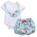 ieftine Set Îmbrăcăminte Bebeluși-Bebelus Fete De Bază Școală Imprimeu Manșon scurt Bumbac Set Îmbrăcăminte / Copil