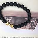 preiswerte Armbänder-Herrn Obsidian Glasperlen Strang-Armbänder - Kurzhantel Natur Armbänder Gold / Schwarz / Silber Für Geschenk / Strasse