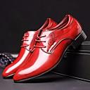 זול סניקרס לגברים-בגדי ריקוד גברים לבש נעליים PU סתיו נוחות / בריטי נעלי אוקספורד שחור וכסף / אדום / כחול