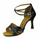 abordables Zapatos de Baile Latino-Mujer Zapatos de Baile Latino / Zapatos de Salsa Brillantina / Semicuero Sandalia / Tacones Alto Hebilla / Corbata de Lazo Tacón Personalizado Personalizables Zapatos de baile Dorado / Negro