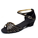 cheap Latin Shoes-Women's Latin Shoes / Ballroom Shoes Satin / Leatherette Heel Chunky Heel Non Customizable Dance Shoes Black and Gold