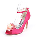 cheap Wedding Shoes-Women's Shoes Satin Spring & Summer Basic Pump Wedding Shoes Stiletto Heel Peep Toe Satin Flower Dark Blue / Fuchsia / Champagne