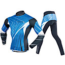 cheap Dance Sneakers-Realtoo Men's Long Sleeve Cycling Jersey with Tights - Bule / Black Bike Clothing Suit, 3D Pad Polyester, Spandex