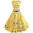 cheap Women's Heels-Women's Holiday / Weekend Vintage Slim Sheath Dress - Floral High Waist Spring Yellow L XL XXL / Sexy