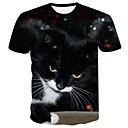 baratos Mealheiro-Homens Tamanhos Grandes Camiseta Básico Estampado, Animal Decote Redondo Gato / Manga Curta