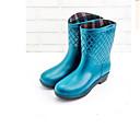 זול מגפי נשים-בגדי ריקוד נשים עור PVC אביב קיץ מגפי גשם מגפיים עקב נמוך קפה / אדום / כחול בהיר