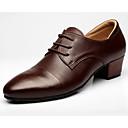 hesapli Modern Dans Ayakkabıları-Erkek Latin Dans Ayakkabıları Deri Oxford Kalın Topuk Dans Ayakkabıları Koyu-Kahverengi / Performans / Egzersiz