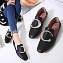 זול סניקרס לנשים-בגדי ריקוד נשים נעליים PU אביב נוחות נעליים ללא שרוכים שטוח שחור / בז'