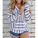 cheap Kigurumi Pajamas-Women's Daily Street chic Striped Long Sleeve Regular Pullover, V Neck Fall / Winter Black / Camel / Gray M / L / XL
