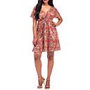 preiswerte Fusskettchen-Damen Übergrössen Festtage Baumwolle Schlank Hülle Kleid Geometrisch Übers Knie V-Ausschnitt Hohe Taillenlinie