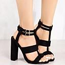 رخيصةأون صنادل نسائية-للمرأة أحذية جلد نوباك صيف مريح / ارتفاع كلاسيكي صنادل كعب متوسط أسود / البيج