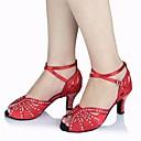 preiswerte Latein Schuhe-Damen Schuhe für den lateinamerikanischen Tanz Seide Absätze Stöckelabsatz Tanzschuhe Rot / Leistung / Leder / Praxis