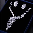 tanie Zestawy biżuterii-Damskie Cyrkonia Niedopasowany Biżuteria Ustaw - Kształt listka, Kwiat Moda Zawierać Kolczyki drop Naszyjniki z wisiorkami Biały Na Ślub Zaręczynowy