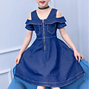 tanie Sukienki dla dziewczynek-Dzieci Dla dziewczynek Aktywny / Słodkie Wyjściowe Solidne kolory Pofałdowany Krótki rękaw Midi Sukienka / Bawełna