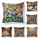 cheap Pillow Covers-6 pcs Textile / Cotton / Linen Pillow case, Art Deco / Animal / Printing Square Shaped / Cartoon