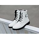 זול נעלי ספורט לגברים-בגדי ריקוד גברים מגפיי קרב PU חורף נוחות מגפיים מגפיים באורך אמצע - חצי שוק לבן / שחור