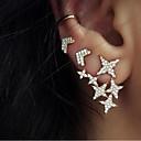 preiswerte Ohrringe-Damen Geometrisch Ohrstecker Ohr-Stulpen Ohrringe Stern Erklärung damas Süß Schmuck Gold Für Party Strasse 3 Stück