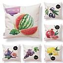ieftine Fețe de Pernă-6 buc Textil / Bumbac / In Față de Pernă, Simplu / Design Special / Imprimare Fructe / Formă pătrată