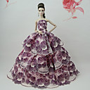 abordables Accesorios para muñecas-Vestidos Vestir por Muñeca Barbie  Rosa Tela de Encaje / Mezcla de Seda y Algodón Vestido por Chica de muñeca de juguete