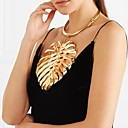 cheap Synthetic Capless Wigs-Women's Bib Statement Necklace - Leaf, Botanical Unique Design, European, Oversized Gold, Black, Silver 37+13.5 cm Necklace 1pc For Ceremony, Carnival